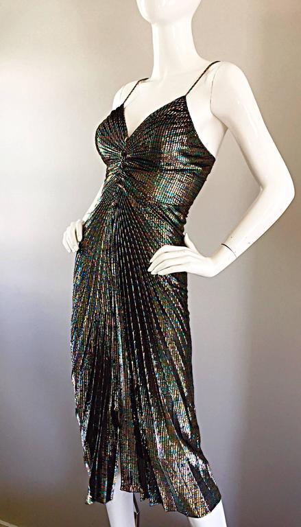 AMAZING 1970s Samir Rainbow Metallic Sexy Pleated Vintage Disco 70s Dress 8