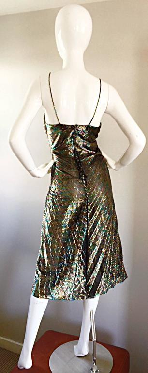 AMAZING 1970s Samir Rainbow Metallic Sexy Pleated Vintage Disco 70s Dress 9
