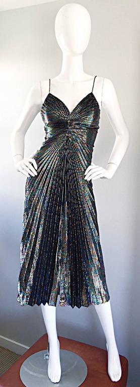 AMAZING 1970s Samir Rainbow Metallic Sexy Pleated Vintage Disco 70s Dress 10