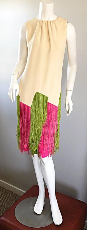 Women's JEAN LOUIS Vintage I Magnin 1960s Rare Ivory Crepe Pink and Green Fringe Dress For Sale