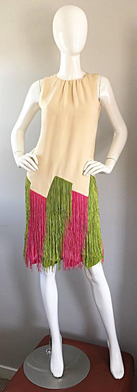 Incredible and rare 60s JEAN LOUIS for I. MAGNIN cream shift dress, with amazing green and pink fringed hem! Couture quality, with incredible attention to detail! Jean Louis was the lead Hollywood costume designer in the 1950s and 1960s, In 1962