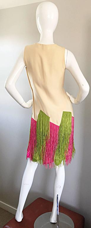 JEAN LOUIS Vintage I Magnin 1960s Rare Ivory Crepe Pink and Green Fringe Dress In Excellent Condition For Sale In San Francisco, CA