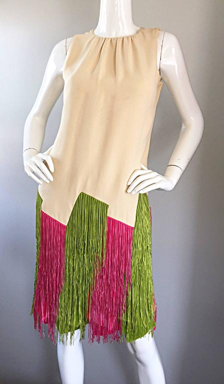 JEAN LOUIS Vintage I Magnin 1960s Rare Ivory Crepe Pink and Green Fringe Dress For Sale 4