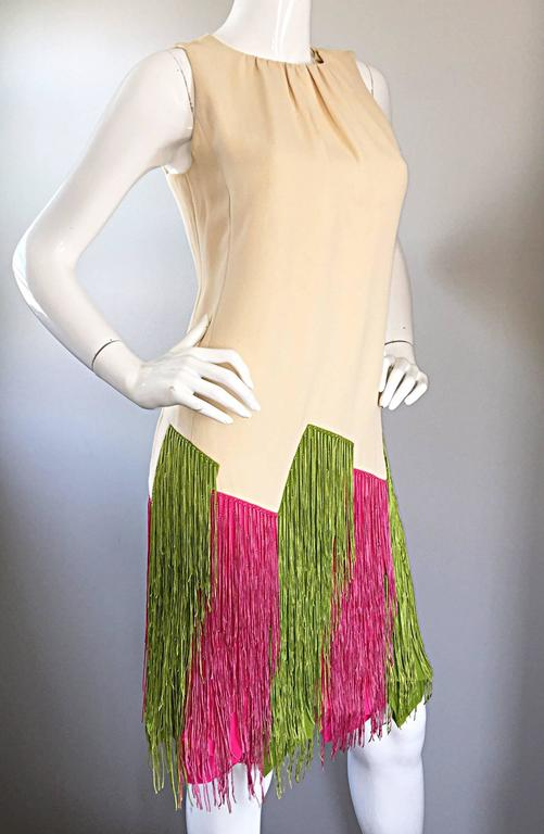 JEAN LOUIS Vintage I Magnin 1960s Rare Ivory Crepe Pink and Green Fringe Dress For Sale 1