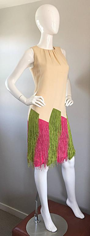 JEAN LOUIS Vintage I Magnin 1960s Rare Ivory Crepe Pink and Green Fringe Dress For Sale 3