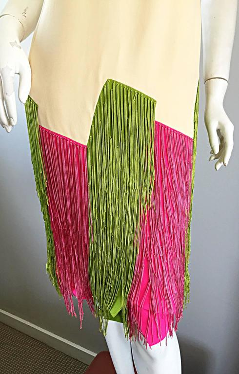 Beige JEAN LOUIS Vintage I Magnin 1960s Rare Ivory Crepe Pink and Green Fringe Dress For Sale