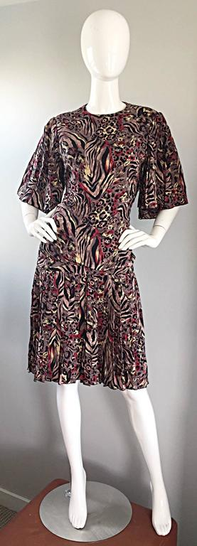 Vintage Richilene Leopard and Zebra Print 1980s does 1920s Flapper Style Dress For Sale 4