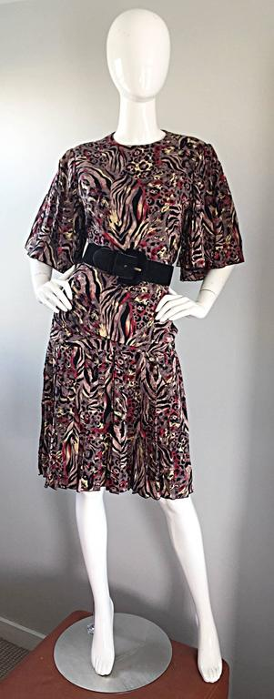 Vintage Richilene Leopard and Zebra Print 1980s does 1920s Flapper Style Dress For Sale 1