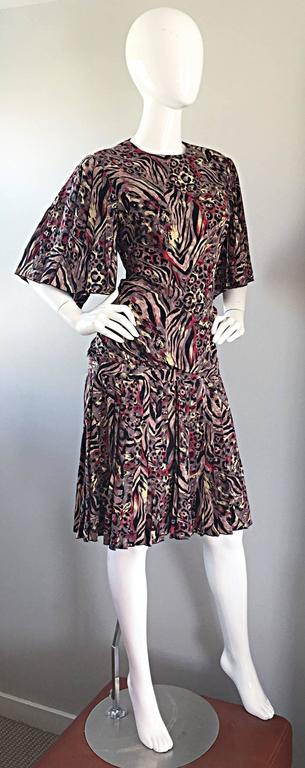 Women's Vintage Richilene Leopard and Zebra Print 1980s does 1920s Flapper Style Dress For Sale