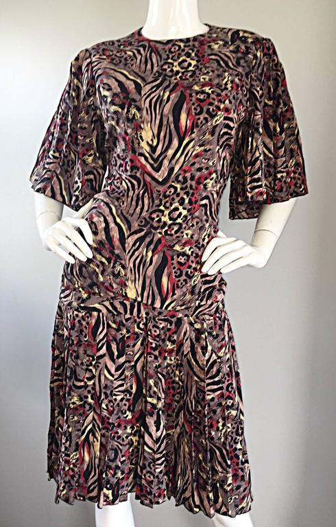 Vintage Richilene Leopard and Zebra Print 1980s does 1920s Flapper Style Dress For Sale 3