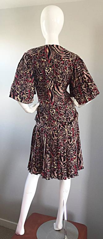 Vintage Richilene Leopard and Zebra Print 1980s does 1920s Flapper Style Dress In Excellent Condition For Sale In San Francisco, CA