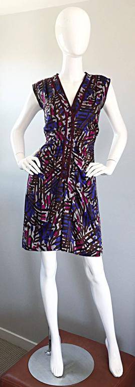Vintage Yves Saint Laurent YSL Rive Gauche Graffiti Print Silk Sleeveless Dress For Sale 4