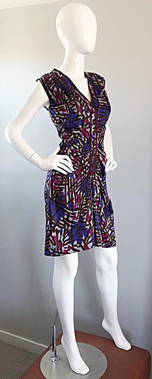 Vintage Yves Saint Laurent YSL Rive Gauche Graffiti Print Silk Sleeveless Dress In Excellent Condition For Sale In San Francisco, CA