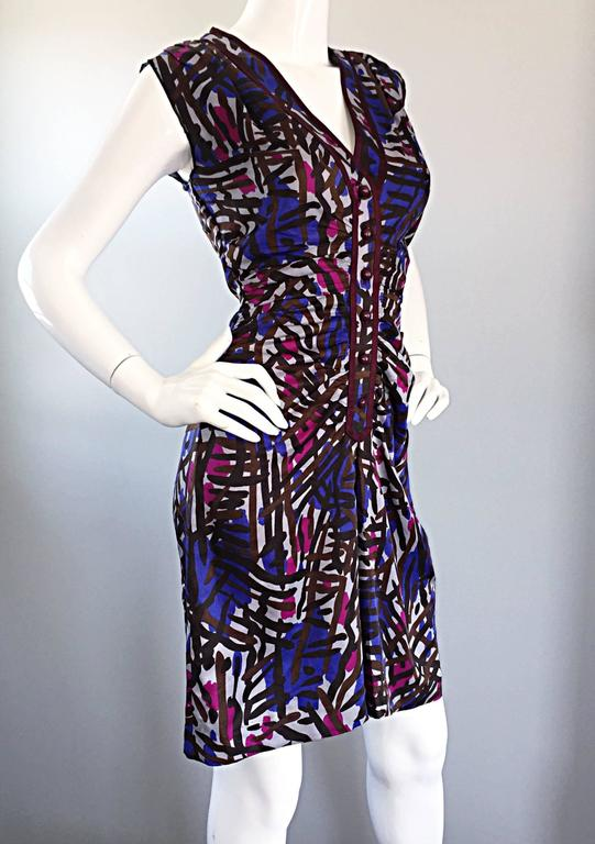Vintage Yves Saint Laurent YSL Rive Gauche Graffiti Print Silk Sleeveless Dress For Sale 1