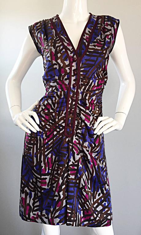 Vintage Yves Saint Laurent YSL Rive Gauche Graffiti Print Silk Sleeveless Dress For Sale 2