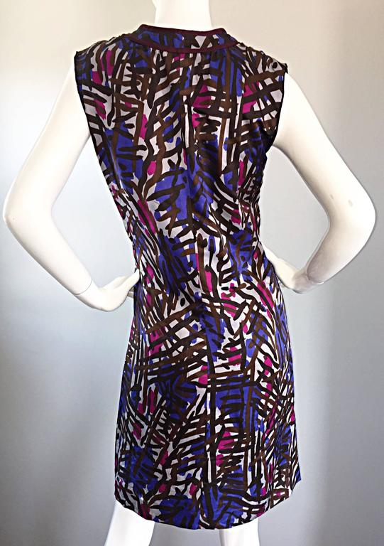 Vintage Yves Saint Laurent YSL Rive Gauche Graffiti Print Silk Sleeveless Dress For Sale 3