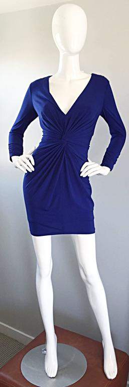 1990s Tadashi Shoji Royal Blue Vintage Bodycon Ruched Long Sleeve Mini Dress  2