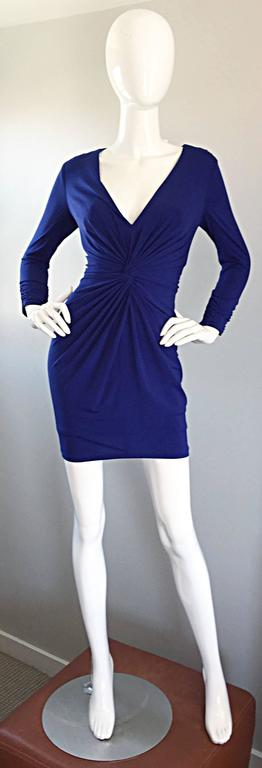 1990s Tadashi Shoji Royal Blue Vintage Bodycon Ruched Long Sleeve Mini Dress  9