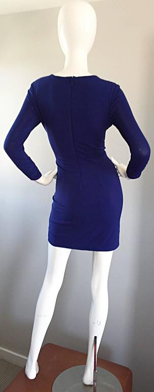 1990s Tadashi Shoji Royal Blue Vintage Bodycon Ruched Long Sleeve Mini Dress  5