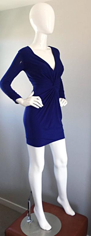 1990s Tadashi Shoji Royal Blue Vintage Bodycon Ruched Long Sleeve Mini Dress  3