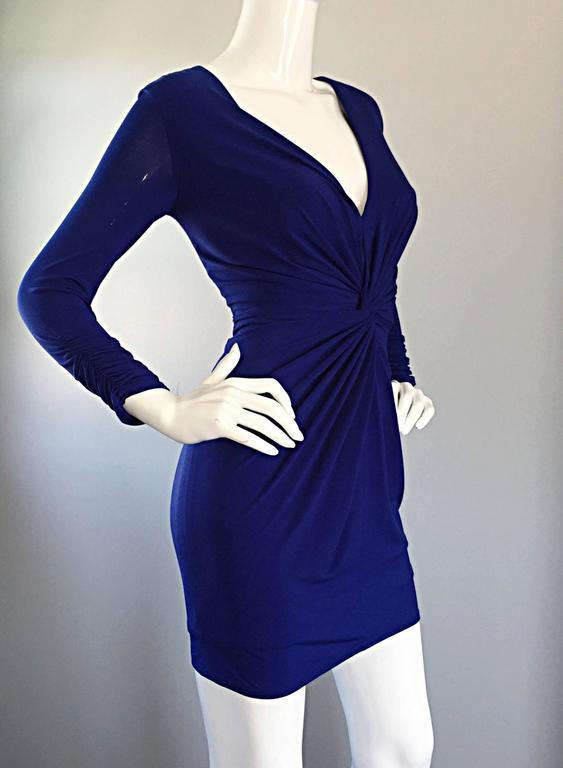 1990s Tadashi Shoji Royal Blue Vintage Bodycon Ruched Long Sleeve Mini Dress  8