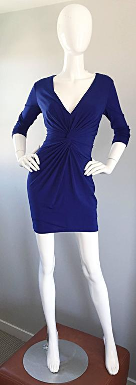 1990s Tadashi Shoji Royal Blue Vintage Bodycon Ruched Long Sleeve Mini Dress  4