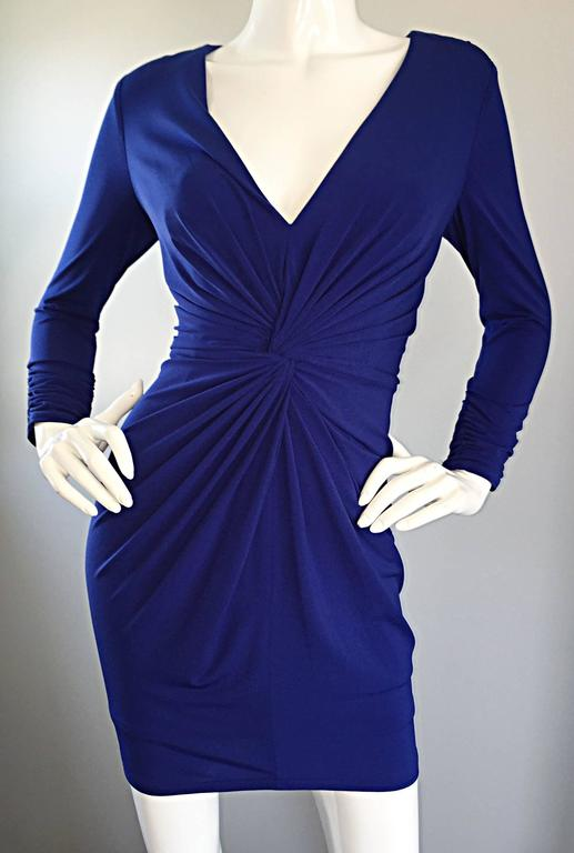 1990s Tadashi Shoji Royal Blue Vintage Bodycon Ruched Long Sleeve Mini Dress  7