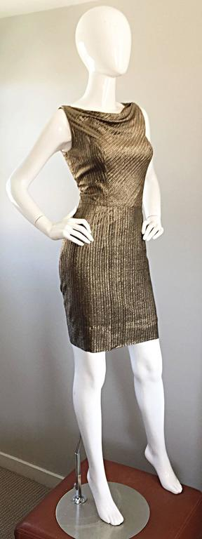 Brown Amazing 1950s Gold Bronze Silk Metallic Late 50s Vintage Wiggle Bombshell Dress  For Sale