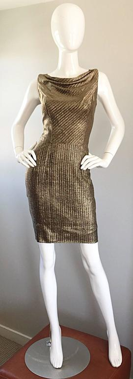 Amazing 1950s Gold Bronze Silk Metallic Late 50s Vintage Wiggle Bombshell Dress  For Sale 4