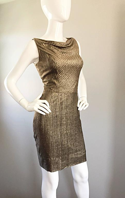 Amazing 1950s Gold Bronze Silk Metallic Late 50s Vintage Wiggle Bombshell Dress  For Sale 1