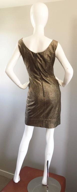 Amazing 1950s Gold Bronze Silk Metallic Late 50s Vintage Wiggle Bombshell Dress  In Excellent Condition For Sale In San Francisco, CA