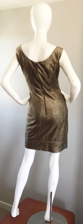 Amazing 1950s Gold Bronze Silk Metallic Late 50s Vintage Wiggle Bombshell Dress  For Sale 2