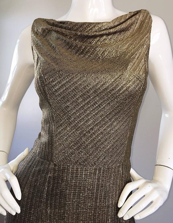 Women's Amazing 1950s Gold Bronze Silk Metallic Late 50s Vintage Wiggle Bombshell Dress  For Sale