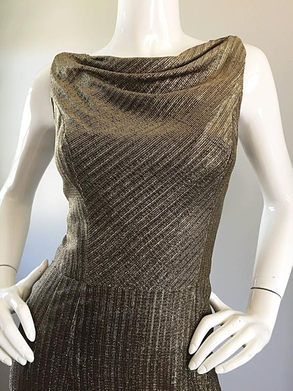 Amazing 1950s Gold Bronze Silk Metallic Late 50s Vintage Wiggle Bombshell Dress  For Sale 3