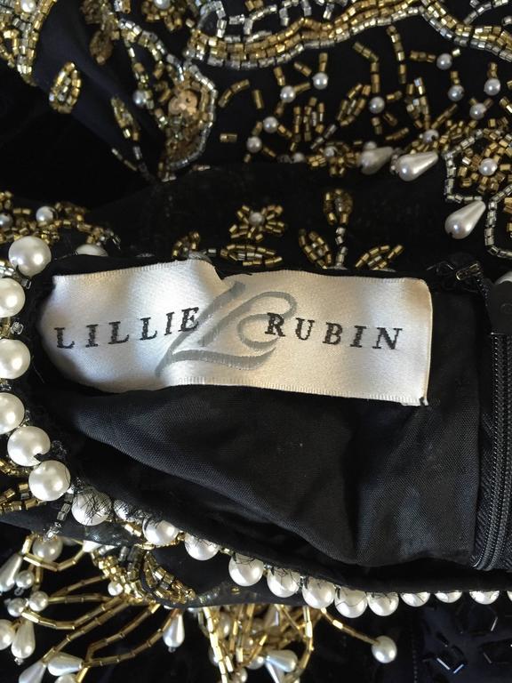 Vintage Lillie Rubin Size Medium Fully Beaded Sequined Pearl Silk Fringe Dress 10