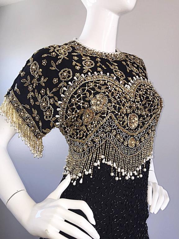 Vintage Lillie Rubin Size Medium Fully Beaded Sequined Pearl Silk Fringe Dress 8
