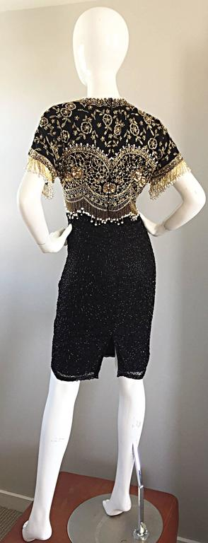 Vintage Lillie Rubin Size Medium Fully Beaded Sequined Pearl Silk Fringe Dress In Excellent Condition For Sale In San Francisco, CA