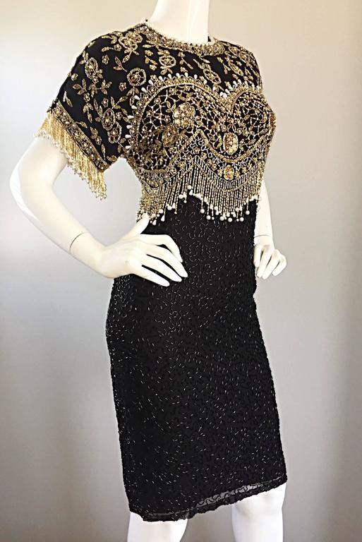 Vintage Lillie Rubin Size Medium Fully Beaded Sequined Pearl Silk Fringe Dress 5