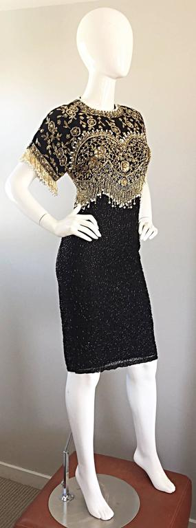 Vintage Lillie Rubin Size Medium Fully Beaded Sequined Pearl Silk Fringe Dress 6