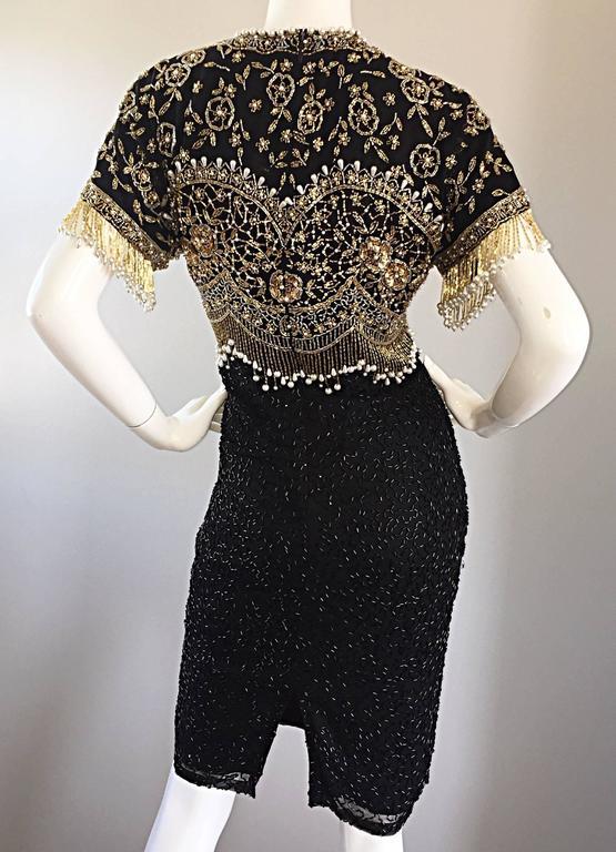 Vintage Lillie Rubin Size Medium Fully Beaded Sequined Pearl Silk Fringe Dress 7