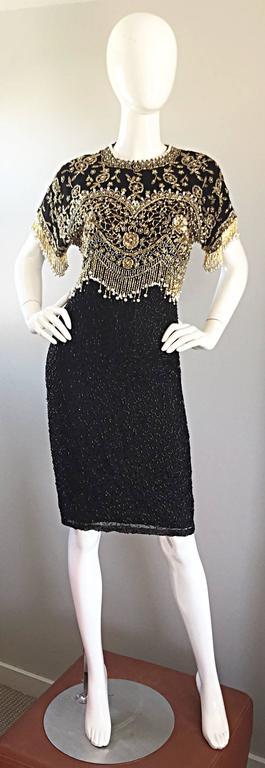 Vintage Lillie Rubin Size Medium Fully Beaded Sequined Pearl Silk Fringe Dress 9
