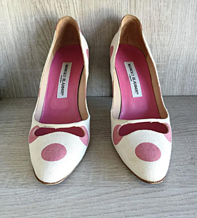 Manolo Blahnik Pink and White Polka Dot Sz 38.5 US 8.5 Cut ...