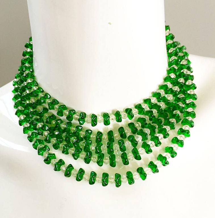 Beautiful vintage (signed) LISNER 1960s sapphire green and clear lucite waterfall necklace! Vibrant green adds just the right amount of pop to any outfit! Can easily be dressed up or down. Adjustable decorative silver clasp in back. Great with a