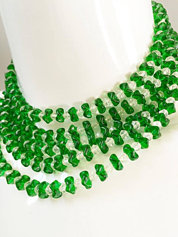 Women's Vintage Signed Lisner 1960s Emerald Green + Clear Lucite 60s Waterfall Necklace  For Sale