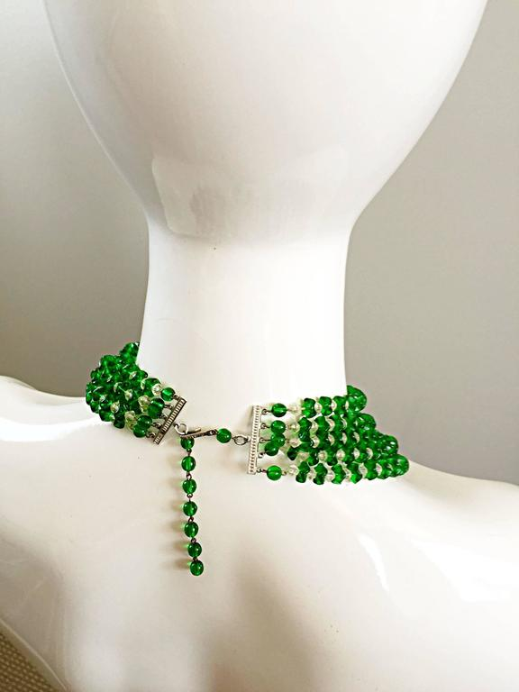 Vintage Signed Lisner 1960s Emerald Green + Clear Lucite 60s Waterfall Necklace  For Sale 2