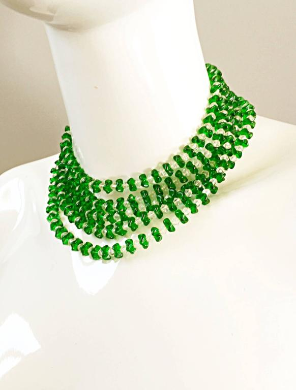 Vintage Signed Lisner 1960s Emerald Green + Clear Lucite 60s Waterfall Necklace  For Sale 3