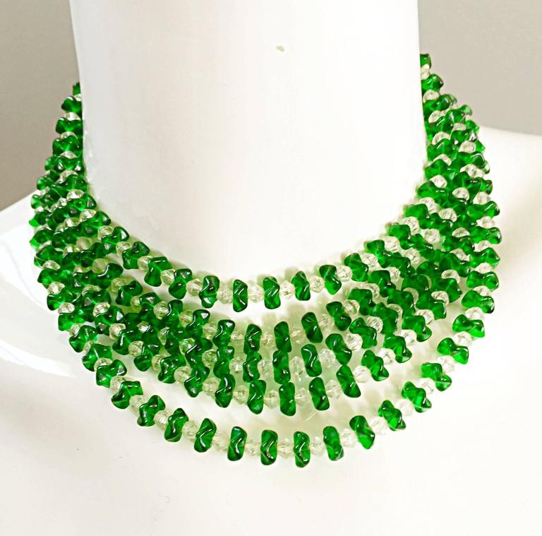 Vintage Signed Lisner 1960s Emerald Green + Clear Lucite 60s Waterfall Necklace  For Sale 4
