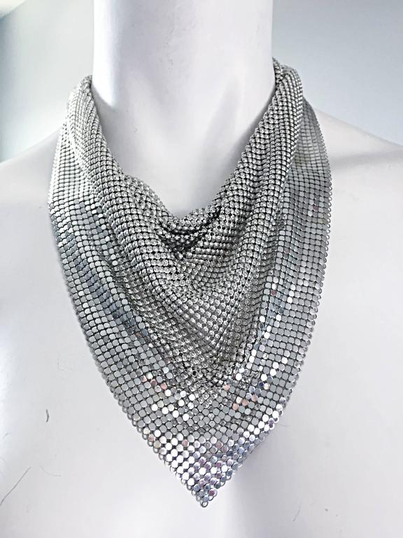 Vintage Whiting and Davis 1970s Silver Chainmail 70s Metal Disco Bib Necklace  9