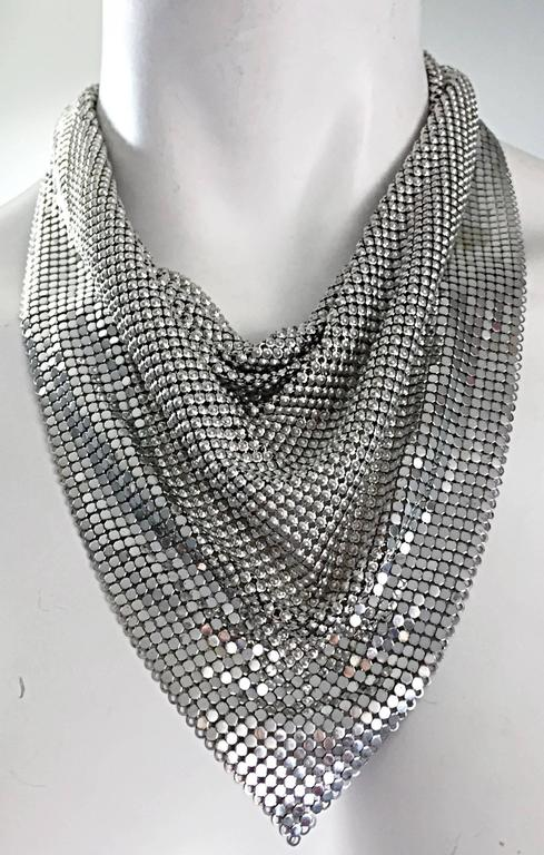 Vintage Whiting and Davis 1970s Silver Chainmail 70s Metal Disco Bib Necklace  7