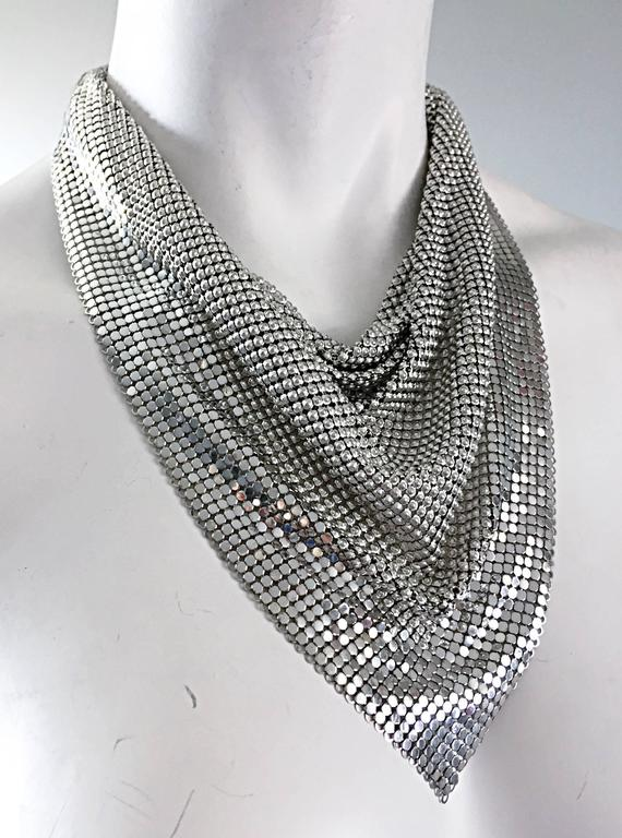 Vintage Whiting and Davis 1970s Silver Chainmail 70s Metal Disco Bib Necklace  2
